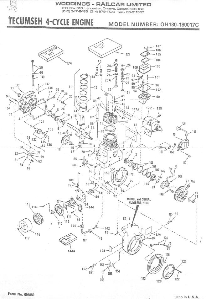 Tecumseh 4-cycle motor-OH180-180017C